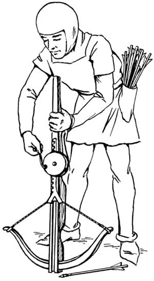 Medieval Soldier loading a Crossbow