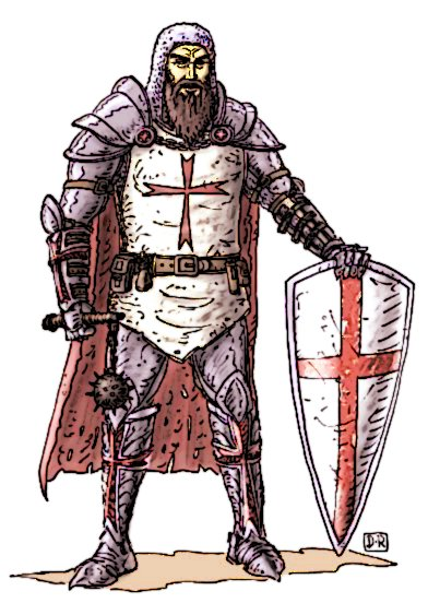 knight templar knight using flail weapon picture