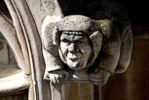 Medieval Gargoyle Sticking Out Tongue