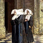 Medieval Nuns in Church Portal