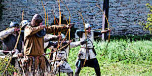Medieval Archers firing arrows at the enemy